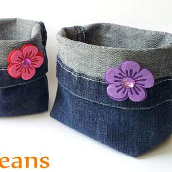Farmer tárolók - újrahasznosított farmer nadrágból egyszerűen