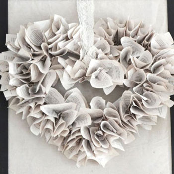 DIY heart shaped book page wreath