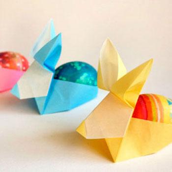 Origami húsvéti tojástartó nyuszik