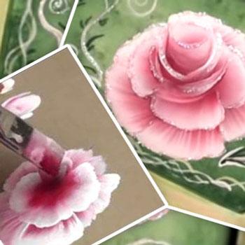 Rózsa - egy mozdulat festési technikával (lépésről lépésre)