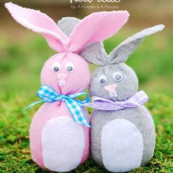 Húsvéti zokni nyuszik (varrás nélkül)