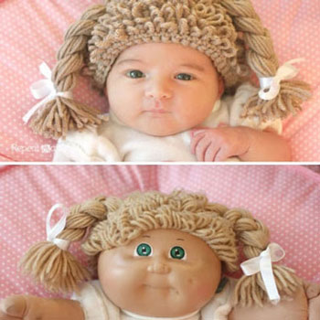 Crocheted cabbage patch doll hat (wig)