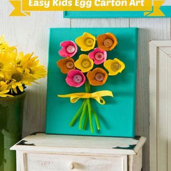 Tavaszi virágos falikép tojástartókból