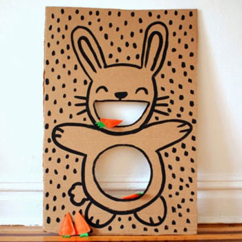 DIY Cardboard easter bunny bean bag toss