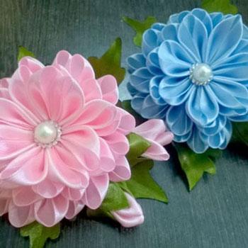 Selyem szalag virág kanzashi technikával - szalagvirág készítés