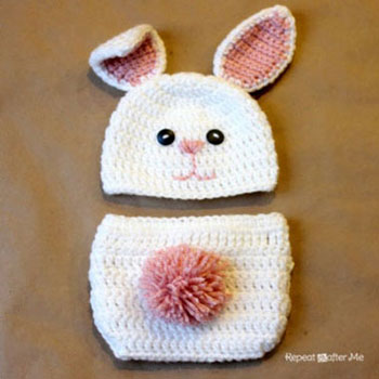 Crocheted bunny baby hat and diaper cover (with pattern)