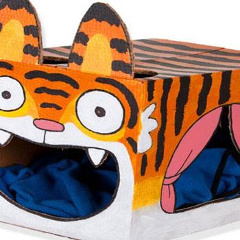 Tigrises cicaház ( macskaágy ) karton papír dobozból