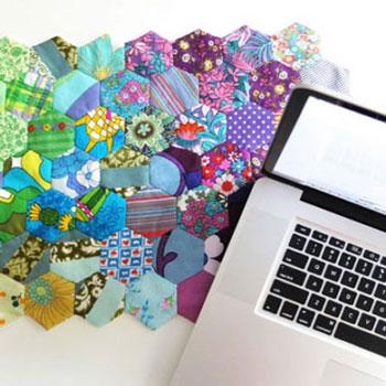 Asztali futó ( maradék textil ) hatszögekből - patchwork