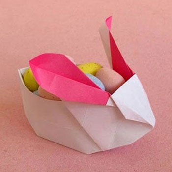 Origami easter treat box bunnies (paper folding)