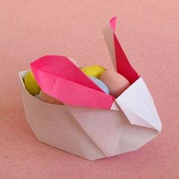 Nyuszis húsvéti édesség tartók - origami ( papírhajtogatás )