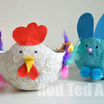 Húsvéti papírmasé tálak (csirke és nyuszi)
