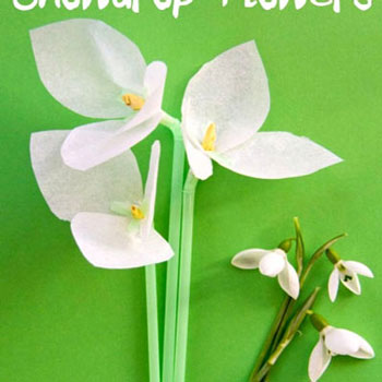 Snowdrop tissue paper flowers - with plastic straws