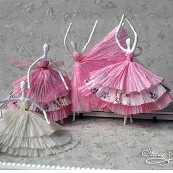Gyönyörű balerinák szalvétákból