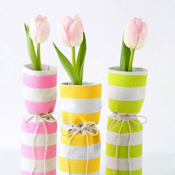 DIY Fabric covered spring vases