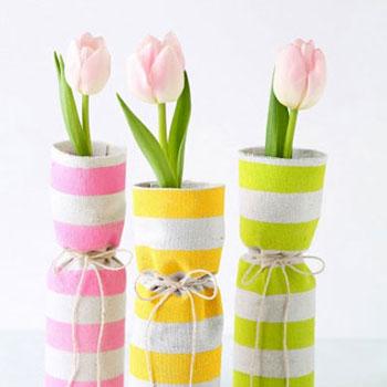 Unalmas üveg vázák új ruhában - tavaszi textil borítású vázák