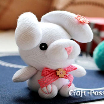 DIY Sock droopy-ear bunny soft toy