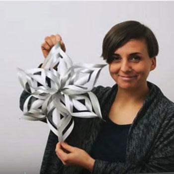 3D Papír hópehely karácsonyfadísz - téli dekoráció