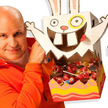 Húsvéti nyuszis édesség tartó kartonpapír dobozból