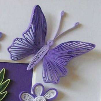 Quilling ( papírcsík technikával ) készült pillangók