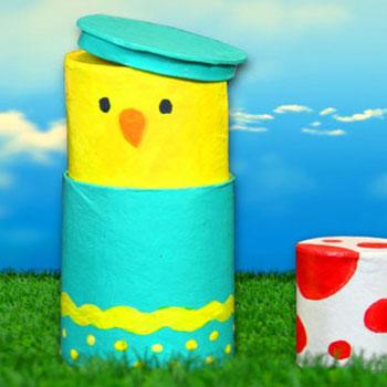 Vicces csibés ajándék doboz wc papír gurigákból ( matrjoska )