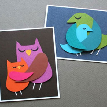Szülői szeretet - ölelkező madaras képeslapok