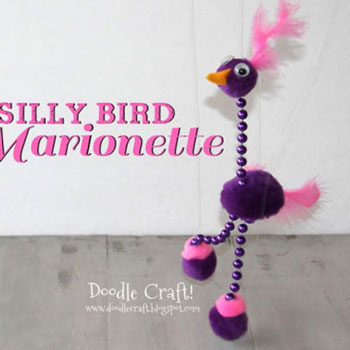 DIY silly bird marionette -  fun kids toy