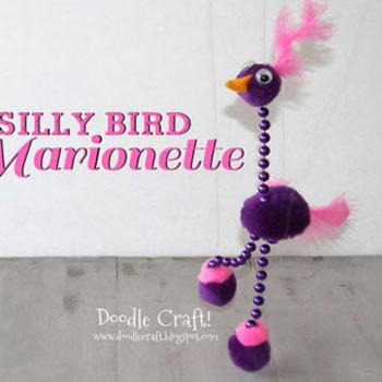 Pompon marionett bábu madár játék gyerekeknek