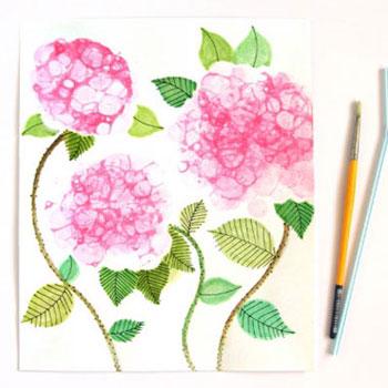 Hortenziás falikép - tavaszi virágok buborékfestéssel