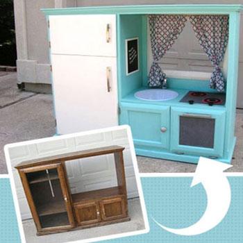Játék (baba) konyha régi Tv szekrényből