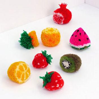 Pompon gyümölcsök fonalból