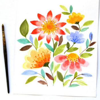 Watercolor spring flowers ( step-by-step painting tutorial )