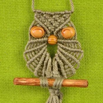 Csomózott ( makramé ) bagoly nyaklánc faággal