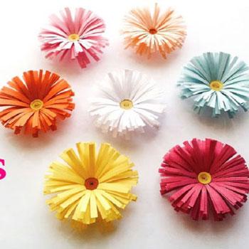 Tavaszi papír virágok - százszorszépek