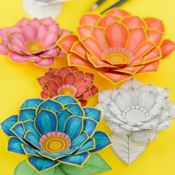 3D flower coloring pages ( free printable )