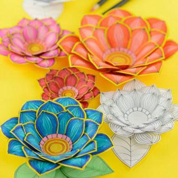 Kiszínezhető 3D papír virágok - nyomtatható mintaívvel