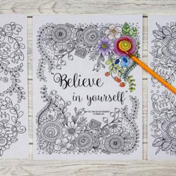 Tavaszi virágos motiváló felnőtt színezők