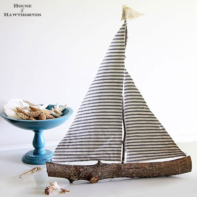 DIY rustic sailboat from a tree branch
