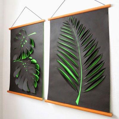 DIY paper leaves wall art