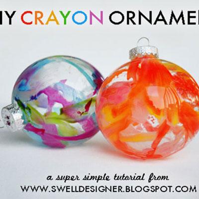 Easy DIY crayon ornaments - fun Christmas craft