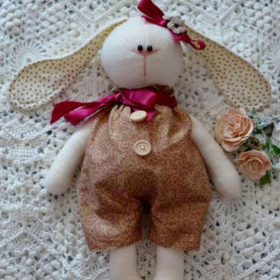 Tilda style long eared bunny softie (with free sewing pattern)