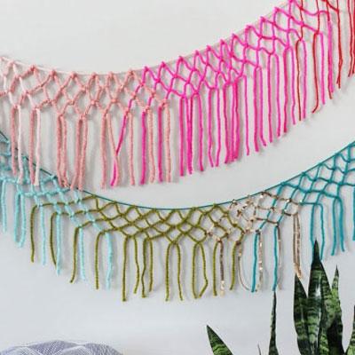 DIY macrame yarn girland