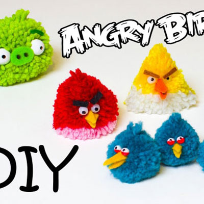 Diy Angry birds pompom toys from yarn