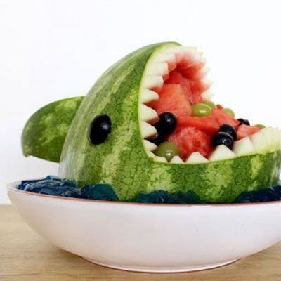 Summer party watermelon shark fruit bowl