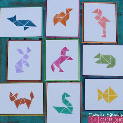 DIY tangram rubber stamp from rubber eraser