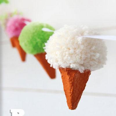 Pom pom ice cream garland