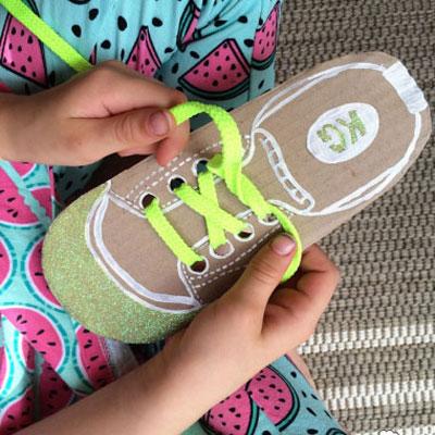 DIY shoe lacing cards - fun learning game