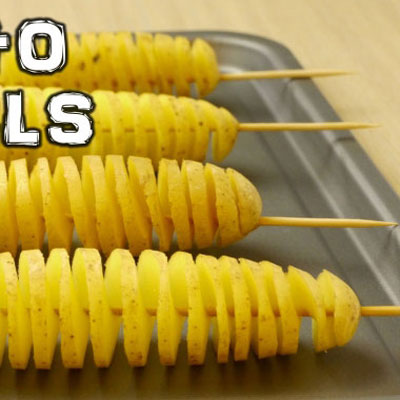 Spiral potato chips easily with a stick - life hack