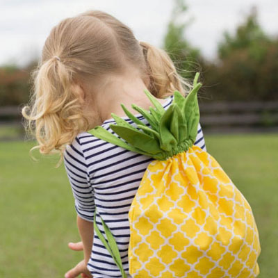 Pineapple dawstring backpack for kids - sewing pattern