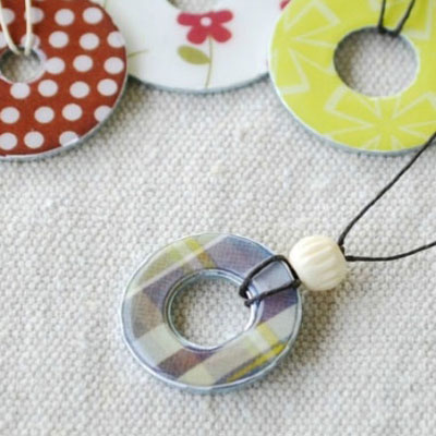 Washer necklaces with colorful papers or fabrics