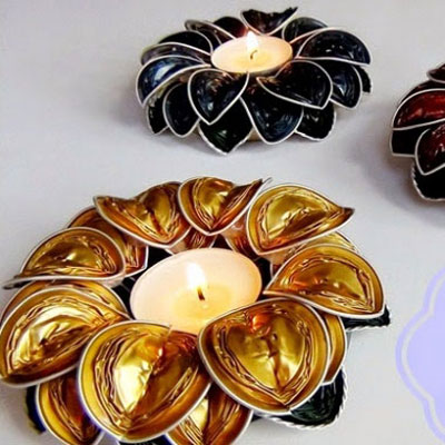 Flower shaped tea candle holders from coffee capsules
